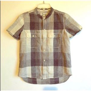 MADEWELL Button Front Pocket Plaid SHIRT BLOUSE XS